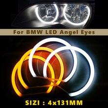 خواتم هالو Led 4X131MM باللون الأبيض والأصفر بلونين لتصفيف السيارة من hopdesign لسيارة BMW E36 E38 E39 E46 مصابيح عين الملاك رقائق 240LEDS