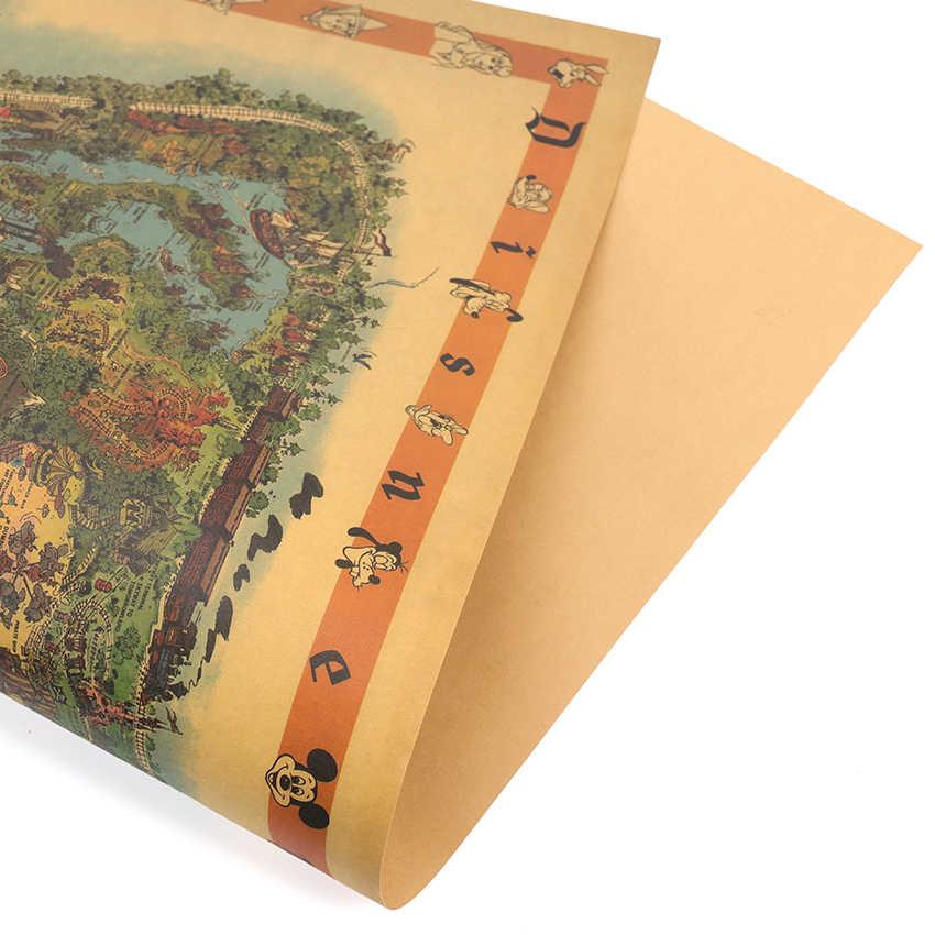דיסנילנד אמריקאי מפת שעשועים פרק יד המצויר ציורי הנוסטלגיה קראפט נייר בר פוסטר רטרו דקורטיבי ציור 72.5x48cm