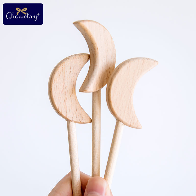 2PC Beech Wooden Star Blocks Moon Toys Custom logo DIY Baby Magic Sticks Rodent Waldorf Rodent Toy Play Gym Toys For Kids Goods   Happy Baby Mama