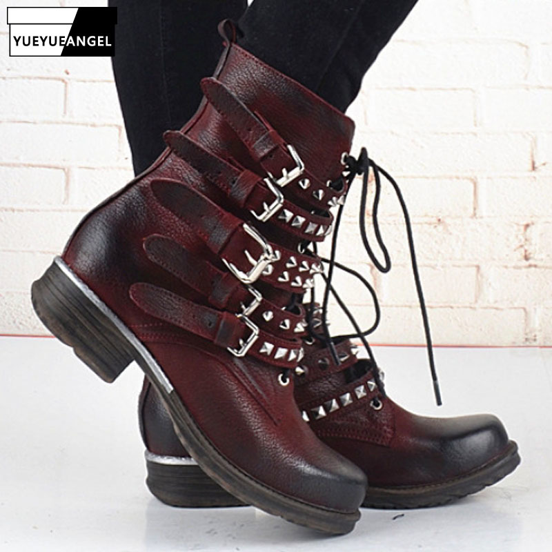 Punk Platform 100% Real Leather Ankle Boots Women Designer Rivet Buckle Strap Black Wine Red Knight Boots Plus Size Boots