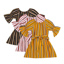 ,Bow Belt Decoration Sweet Style Ruffle Summer Clothing,Kid Flared Sleeve Dress with Vertical Stripes Print