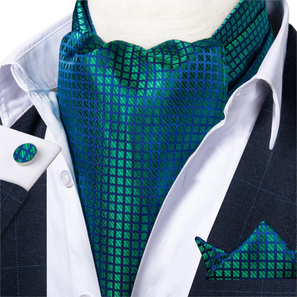 Mens Vintage Green Blue Check Silk Necktie Cravat Ascot Tie Handkerchief Set Self Tied Wedding Ascot Scrunch Necktie DiBanGu