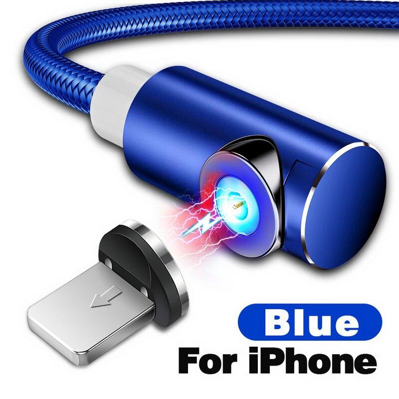 INIU 2 м Магнитный кабель Micro Тип usb C Зарядное устройство для зарядки для iPhone XS X XR 8 7 samsung S8 магнит Android телефонный кабель Шнур - Цвет: For iPhone Blue