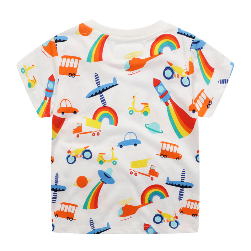 Jumping meters New 2020 Cartoon Boys Girls Tees for Summer 100% Cotton Baby Clothing Short Sleeve T shirts Cute Rockets Print 2