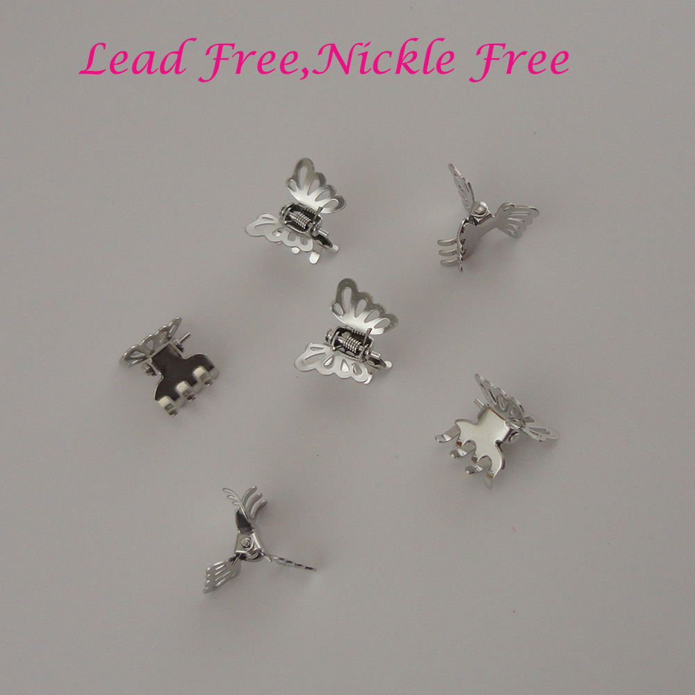 30PCS 2.0cm Silver Filigree Butterfly Metal Hair Claws Hairgrips For Girls Hair Accessories At Lead Free And Nickle Free