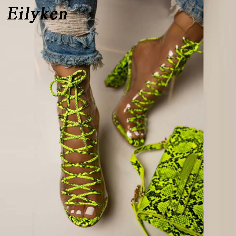 Eilyken Sexy PVC Transparent Green Serpentine Ankle Strap Boots Sandals Peep Toe Shoes Chunky Heels Sandals Mujer Women Boots
