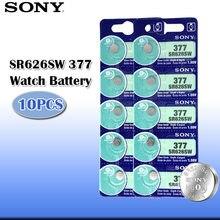 10 шт. 100% Sony Оригинал 1,55 в 377 SR626SW SR626 AG4 оксид серебра часы батарея SR626SW 377 Кнопка монета ячейка Сделано в Японии
