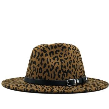 цена New Women Felt Belt Fedora Hat With Wide Brim Leopard print Jazz Hat Elegant Lady Autumn Sombrero Godfather Female Hat онлайн в 2017 году