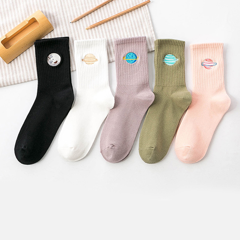 Cotton Cute Japanese Harajuku Woman Socks Solid Long Socks Planet Magic Array Embroidery Girls Socks Gifts Multicolor Sock