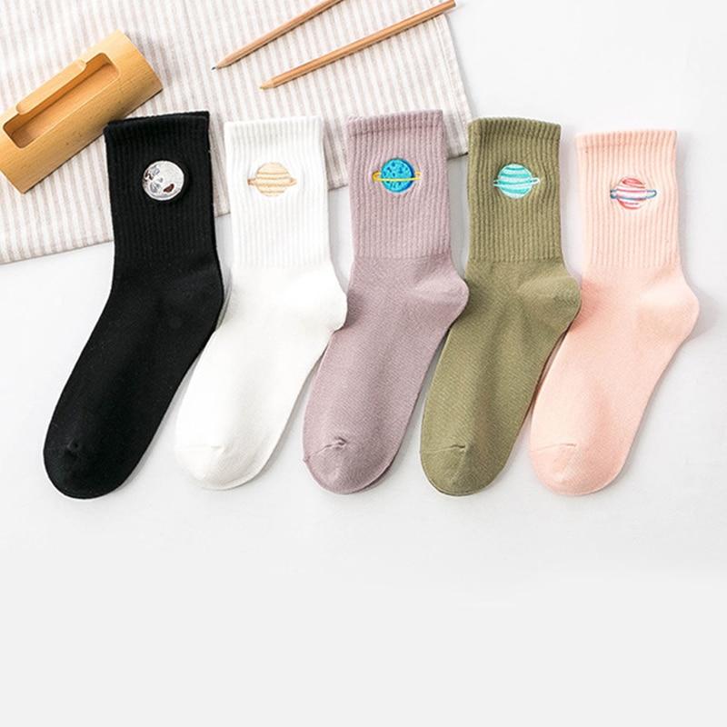 Cotton Cute Japanese Harajuku Woman Socks Solid Long Socks Planet Magic Array Embroidery Girls Socks Gifts Multicolor Sock