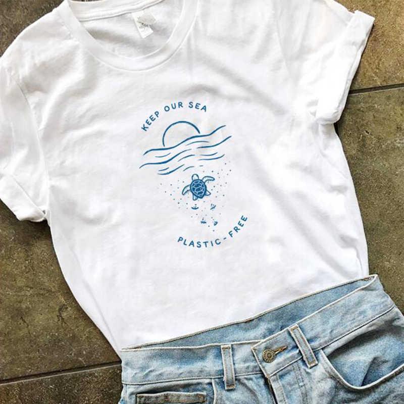 Menjaga Laut Plastik Gratis Kaos Wanita Melewati Sedotan Menyimpan Kura-kura Kemeja-t Slogan Gadis Melindungi Laut Katun Tee Atasan Dropshipping