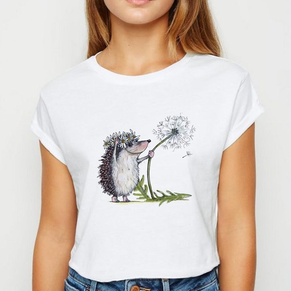 New T-shirt Female Hedgehog With Dandelion Tshirt Loose Spring Summer Tee Shirt Easy Matching  женская Round Neck T-shirts