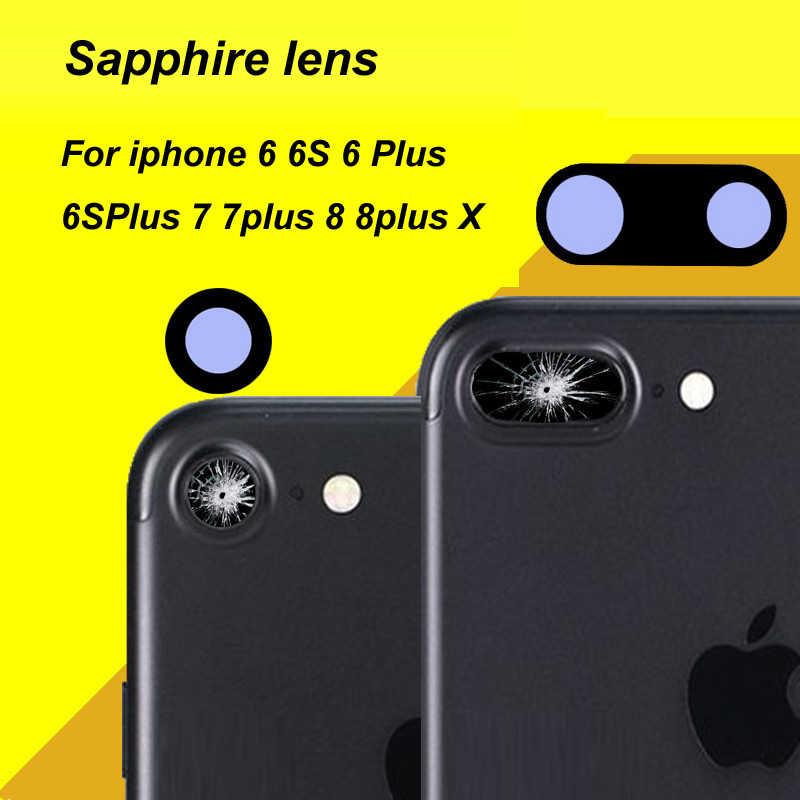 バックカメラ Iphone 5 × 6S 6 プラス 6S プラス 7 7 プラス 8 8 プラス × 交換部品リアカメラガラスカバーとステッカー