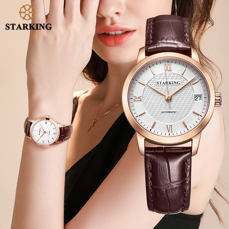 STARKING Automatic Women Watches Top Brand Luxury Ladies Watch Auto Date Mechanical Female Dress Watches White Relogio Feminino