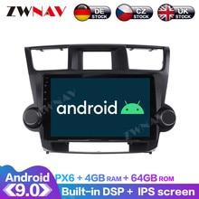 Android 9 4+64G PX6 DSP Carplay Radio Car DVD Player GPS Navigation For Toyota Highlander 2009 2010 - 2013 Head Unit Multimedia недорого