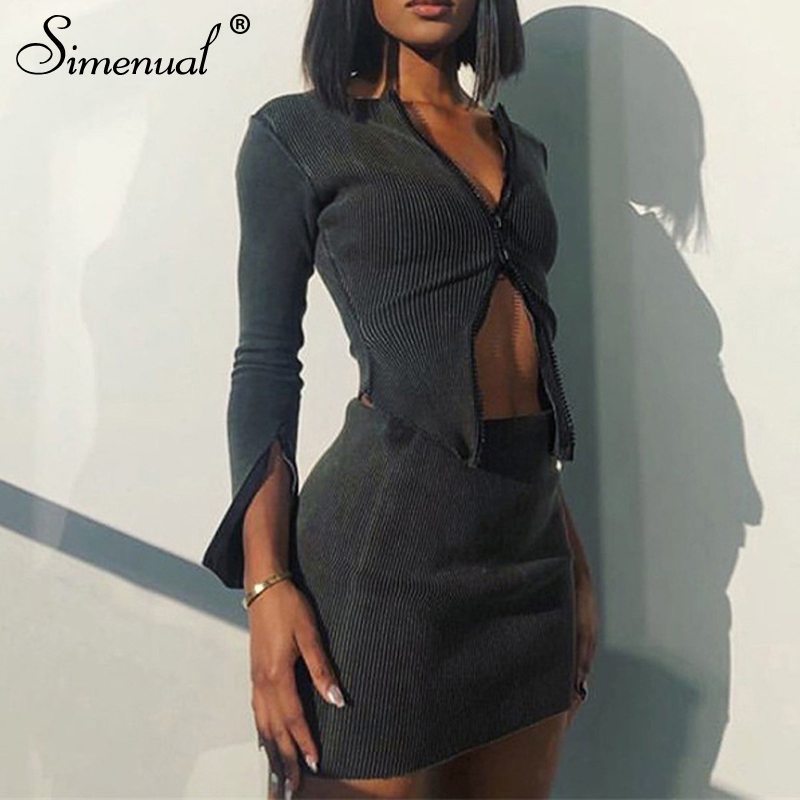 Simenual Rippen Zipper Grau Solide Mode Frauen Zwei Stück Sets Langarm Herbst Clubwear Bodycon Outfits Hot Top Und Rock set