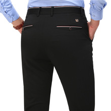 Suit Pants Trousers Slim-Fit Elegant Formal Mens Fashion Black Blue Straight Male Solid-Color