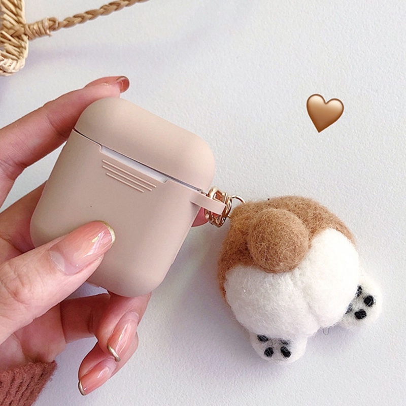 Khaki Headset Cover Earphone Case for AirPods 1 2 Wireless Bluetooth Headset Cover Cute Plush Teddy Pendant Earphone Accessories
