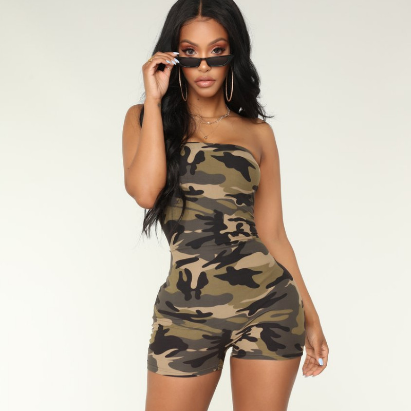 New Women Playsuit Bandeau Sleeveless Bodycon Camouflage Ladies Summer Romper Ladies Backless Beach Jumpsuits Overall