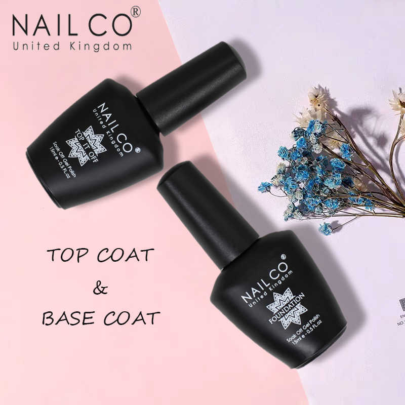 Nailco 15Ml Top Coat En Base Coat Art Design Gel Nagellak Uv Top Base Coat Uv Led Soak off Gel Voor Nail Decoratie Vernis
