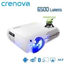 Projecteur Android CRENOVA le plus lumineux 6500 Lumens Android 6.0 OS avec WIFI Bluetooth HDMI VGA AV USB vidéoprojecteur