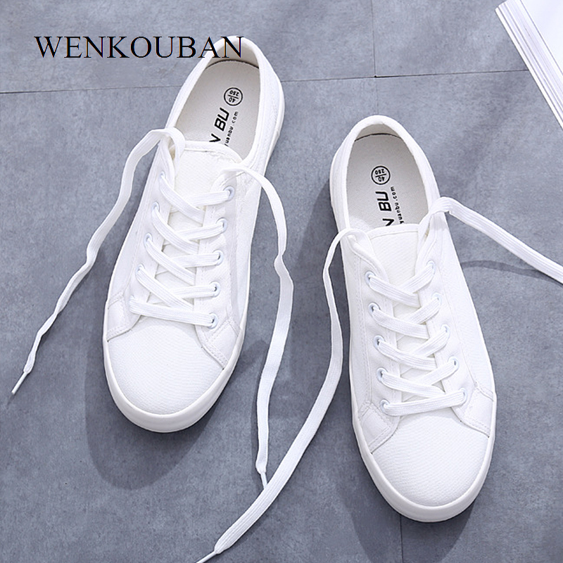 White Canvas Sneakers Women Flats Vulcanize Shoes Casual Ladies Trainers Winter Lace-Up Sneakers Femme Zapatillas Mujer 2020