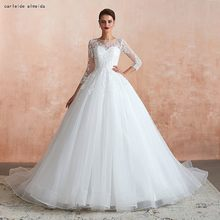 Soft Tulle Ball Gown Princess Wedding Dress with Lace Appliques 50cm Tail Long Sleeves Wedding Dresses(China)
