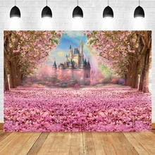 Spring Photography Background Floral Sea Backdrop for Photo Studio Princess Baby Shower Fantasy Castle Rainbow Photocall Party