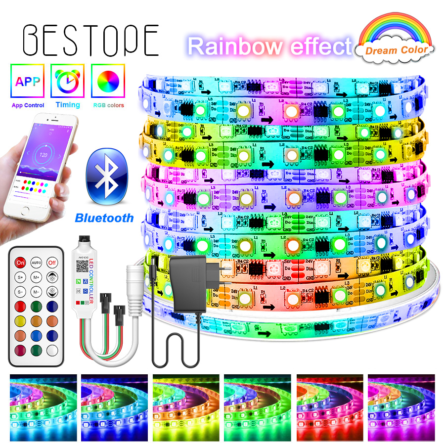 Bluetooth Traum RGB LED Streifen DC 12V Led Licht Einzeln Adressierbare Flexible Smart Beleuchtung Band Tape Controller Adapter