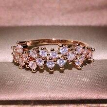 RongXing mujeres moda completa CZ piedra flor anillos para mujer Vintage oro/oro rosa lleno blanco Zircon anillo de boda joyería