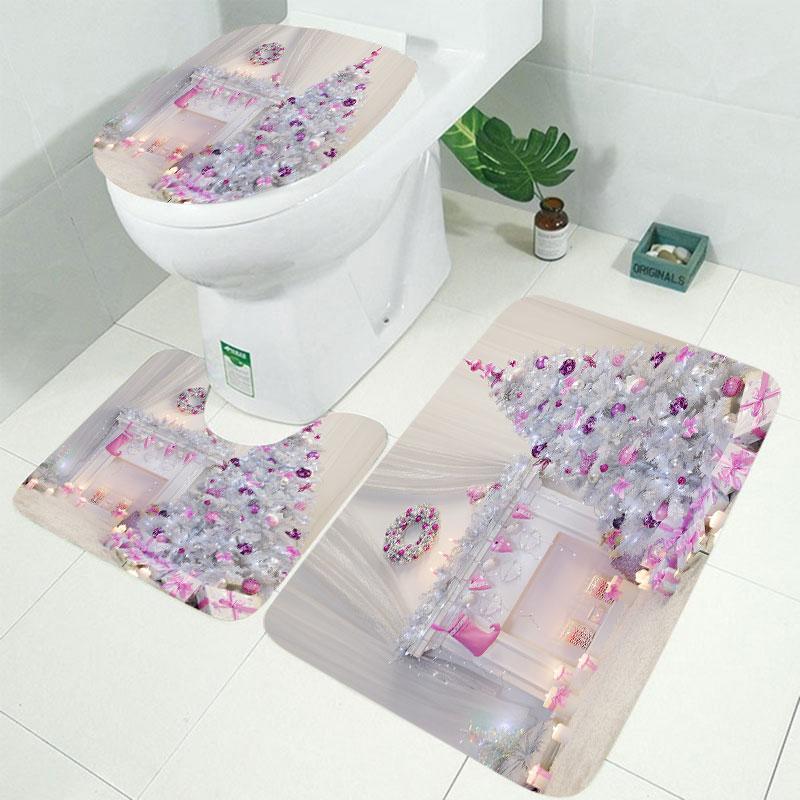 10 видов Рождественская задняя капля Снежный принт Водонепроницаемая занавеска для ванной комнаты занавеска для ванной унитаза коврик набор нескользящих ковриков - Цвет: RS001 3pcs Mat set