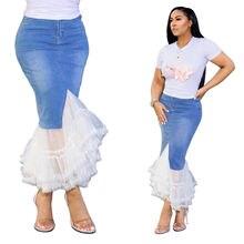 Новинка 2020 облегающая кружевная женская джинсовая юбка размера