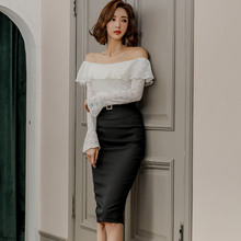 New two piece set 2019 Korean women Elegant Slim word collar horn sleeve Lace Top + fashion Wrapped hip skirt suits fashion beautiful slim wrapped skirt for women deep pink
