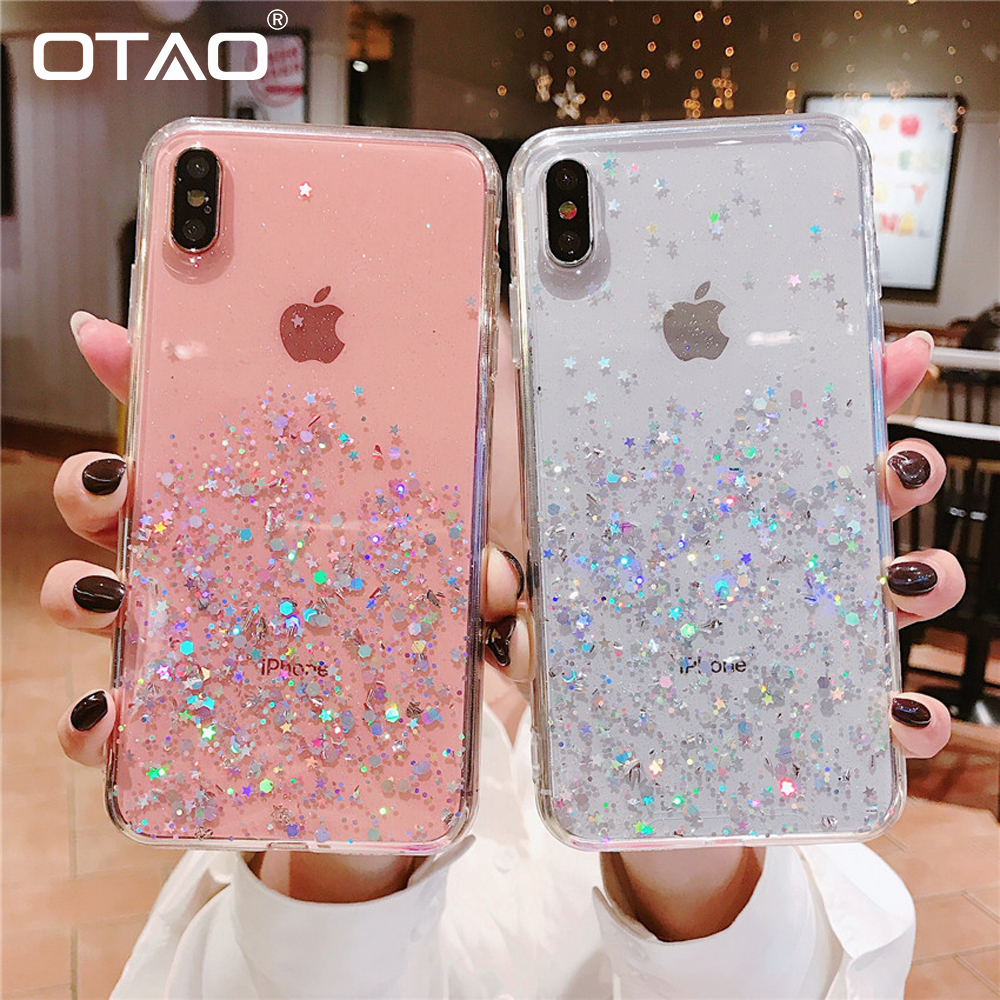 OTAO Glitter Bling Pailletten Fall Für <font><b>iphone</b></font> 11 2019 Pro <font><b>MAX</b></font> <font><b>X</b></font> <font><b>XS</b></font> XR 7 8 6 6S Plus Zurück abdeckung Epoxy Star <font><b>Transparent</b></font> Weiche TPU Fall image