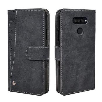Luksus w stylu Vintage etui na LG K40s K50s K41S K51S K50 K51 K61 Q51 Q60 Q61 etui z klapką skórzane silikonowy portfel pokrywa biznes Fundas tanie i dobre opinie Kebabo Soft Silicone TPU Case Odporna na brud Anti-knock Podpórka Z Kieszeni Karty Adsorpcji Dark gray Brown PU leather+ Silicone TPU