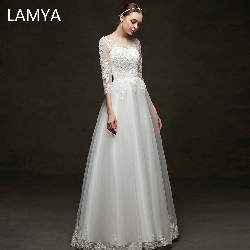 LAMYA Simple Chiffon A Line Wedding Dress With Half Lace Sleeve Elegant Bride Gown Customized Crystal Wedding Dresses