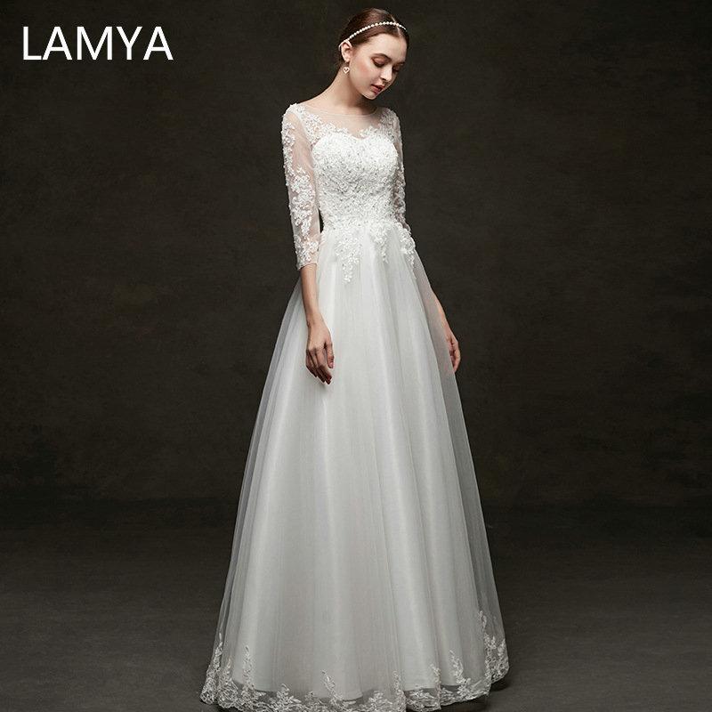 LAMYA Simple Chiffon A Line Wedding Dress With Half Lace Sleeve Elegant Bride Gown Customized Crystal Wedding Dresses