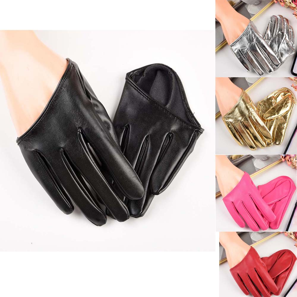 Fashion Leather Sexy Dancer Modelling Half Palm PU Leather Gloves Ladys Five Finger Mitten Driving Show Pole Dance Gloves