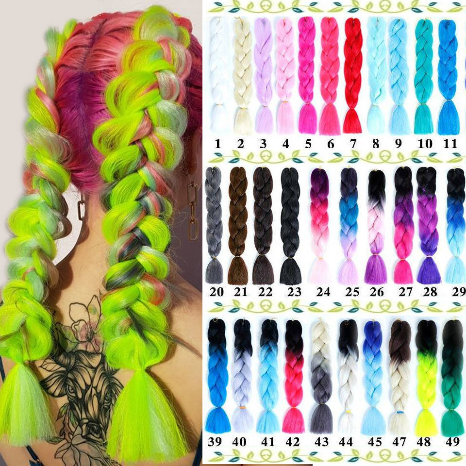 AOSI Jumbo Braids Long Ombre Colors Synthetic Braiding Hair 24