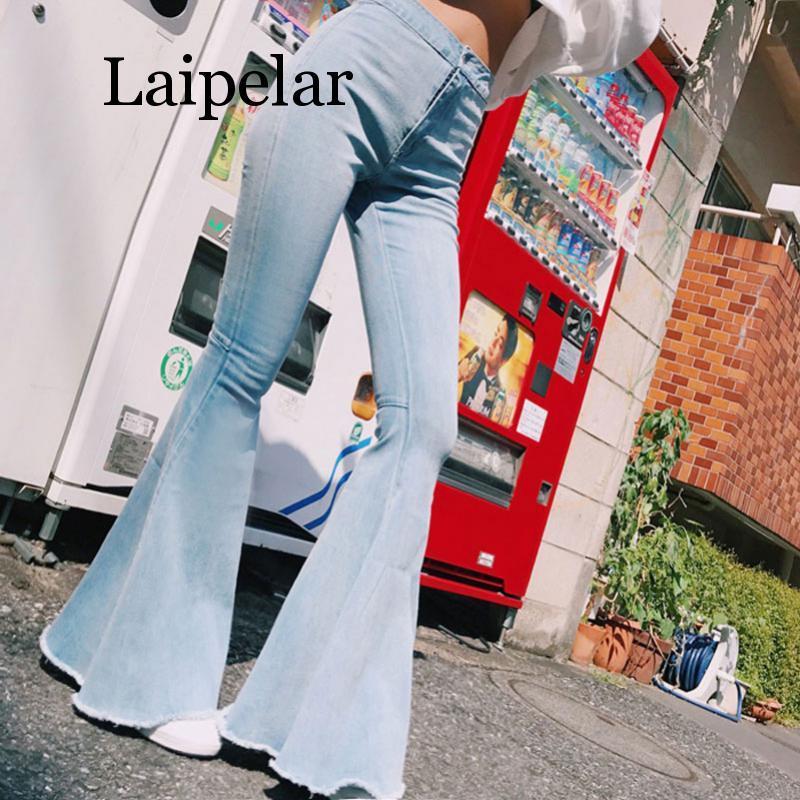 Laipelar Sexy Stretching High Waist Flare Women Jeans Fashion Bell Bottom Blue Skinny Denim Autumn Retro Pants Trous