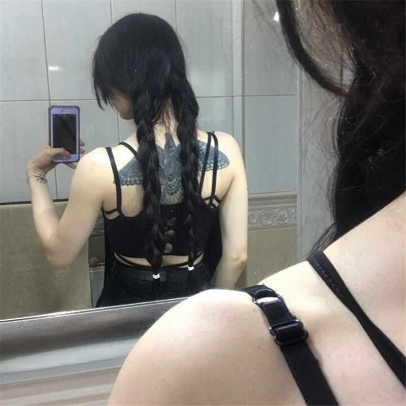 여름 2019 섹시한 파티 탑스 backless hollow out 피트니스 민소매 짧은 자르기 탑스 camisoles streetwear black 레이스 업 자르기 탑스