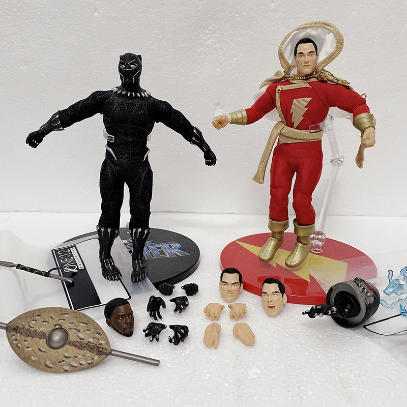 MEZCO Shazam Black Panther Action Figure Mezco One:12 DC Comics Super Villains Shazam Black Panther Action Figures  Model Toy