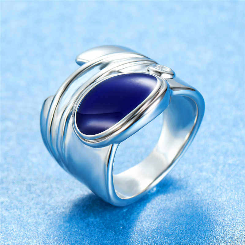 Vintage Besar Hijau Biru Batu Cincin Mewah Wanita Pria Warna Perak Pernikahan Cincin Fashion Janji Pertunangan Cincin untuk Wanita