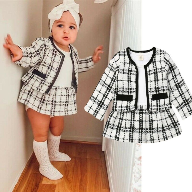 2019 Fashion 1-6Y Baby Girls 2Pcs Clothes Set Birthday Long Sleeve Plaid Coat Tops+ Dress Party Warm Outfit