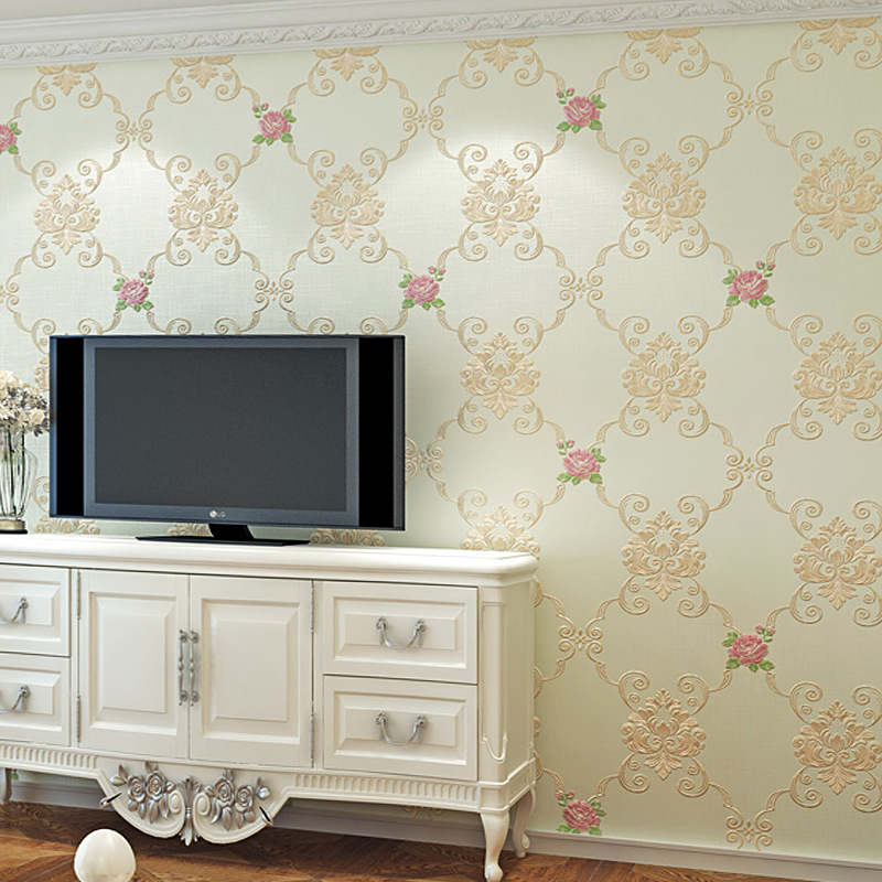 Pastoral Style Household Wallpaper Small Floral Hipster Flower European Style Bedroom Living Room Relief Warm Korean Style Wallp