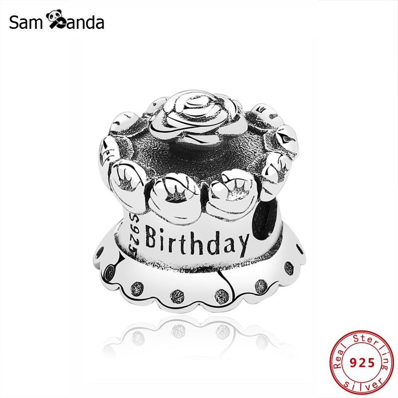 Original 100% 925 Sterling Silver Bead Charm Birthday Cake Charms Fit Pandora Bracelets DIY Women Jewelry Making(China)