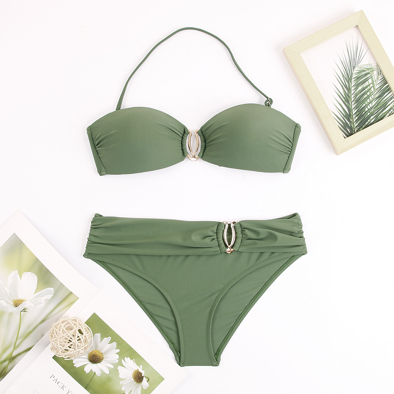 H295719e4fe54426b9fc4daf11e1c2554A - Sexy Bikini Push Up Solid Swimsuit Female Bikinis String Bathing Suit Women Swimwear Bandaeu V Neck Biquini Bikini Set