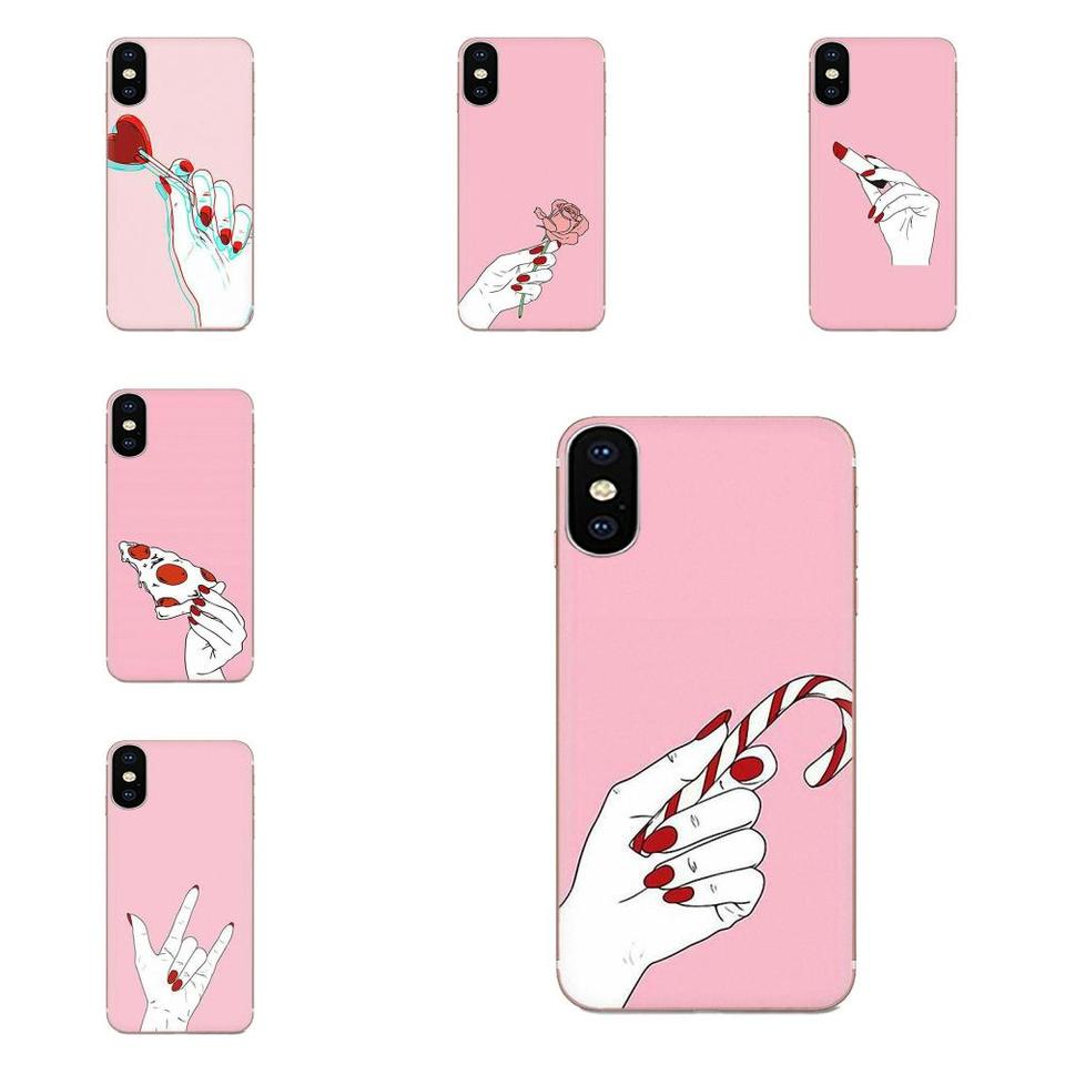 Smartphone Phone Transparent Cases Woman Girl Hand Wallpaper For Apple Iphone 11 Pro X Xs Max Xr 4 4s 5 5c 5s Se 6 6s 7 8 Plus Half Wrapped Cases Aliexpress