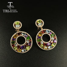 Tbj Big luxury Party Gemstone Earring,20ct Multi colorful gemstone c earring 925 sterling silver rose gold fine jewelry women