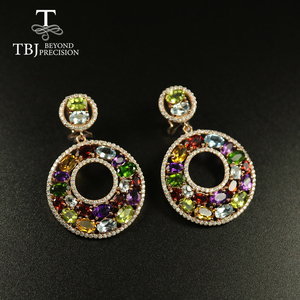 Image 1 - Tbj Big luxury Party Gemstone Earring,20ct Multi colorful gemstone c earring 925 sterling silver rose gold fine jewelry women